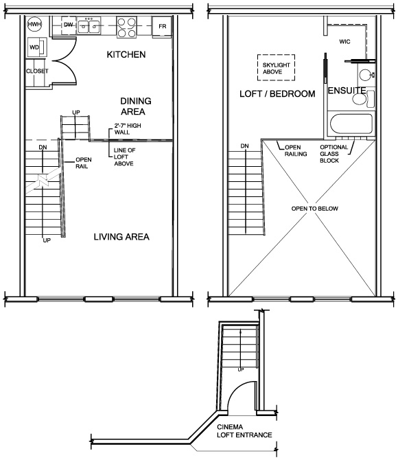 Theatre lofts urban loft living in halifax for Loft floor plans with dimensions